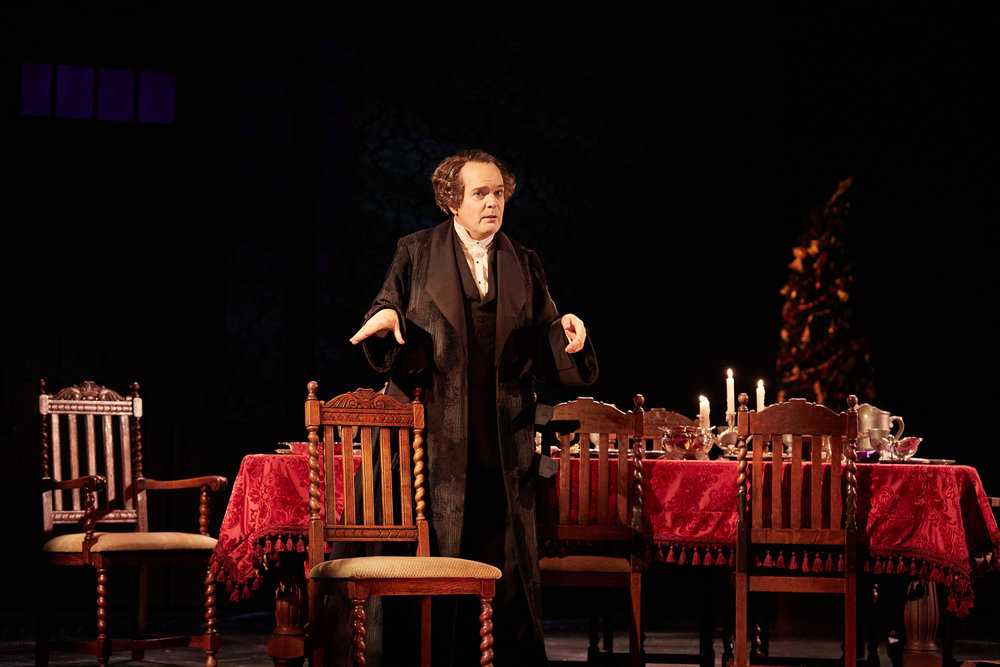 Jefferson Mays stars in the Geffen Playhouse world premiere adaption of Charles Dickens' A Christmas Carol. Directed by Michael Arden. Photo by Chris Whitaker.
