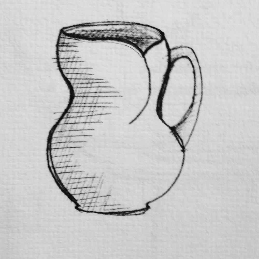 4 Coffee Cups   A 12-16oz. mug with folded rim.
