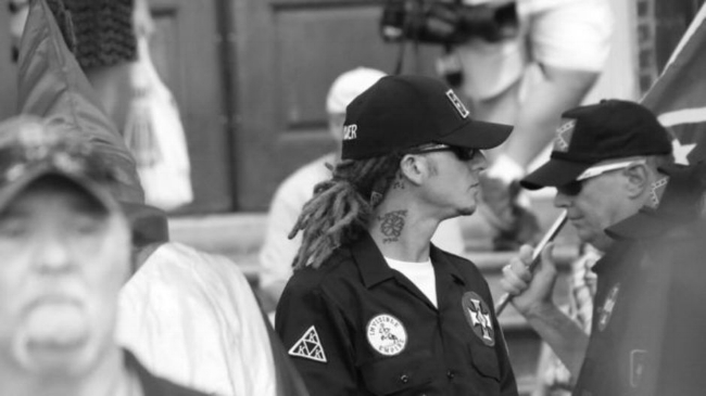 White Supremacist with dreadlocks protesting the removal of a Confederate monument in Chancellorsville, Virginia.