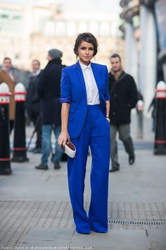 pantsuit pant suit professional career woman  Miroslava Duma At London Fashion Week