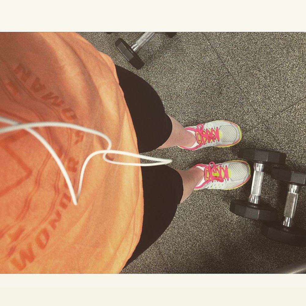 training gym sports orange tennis shoes weights