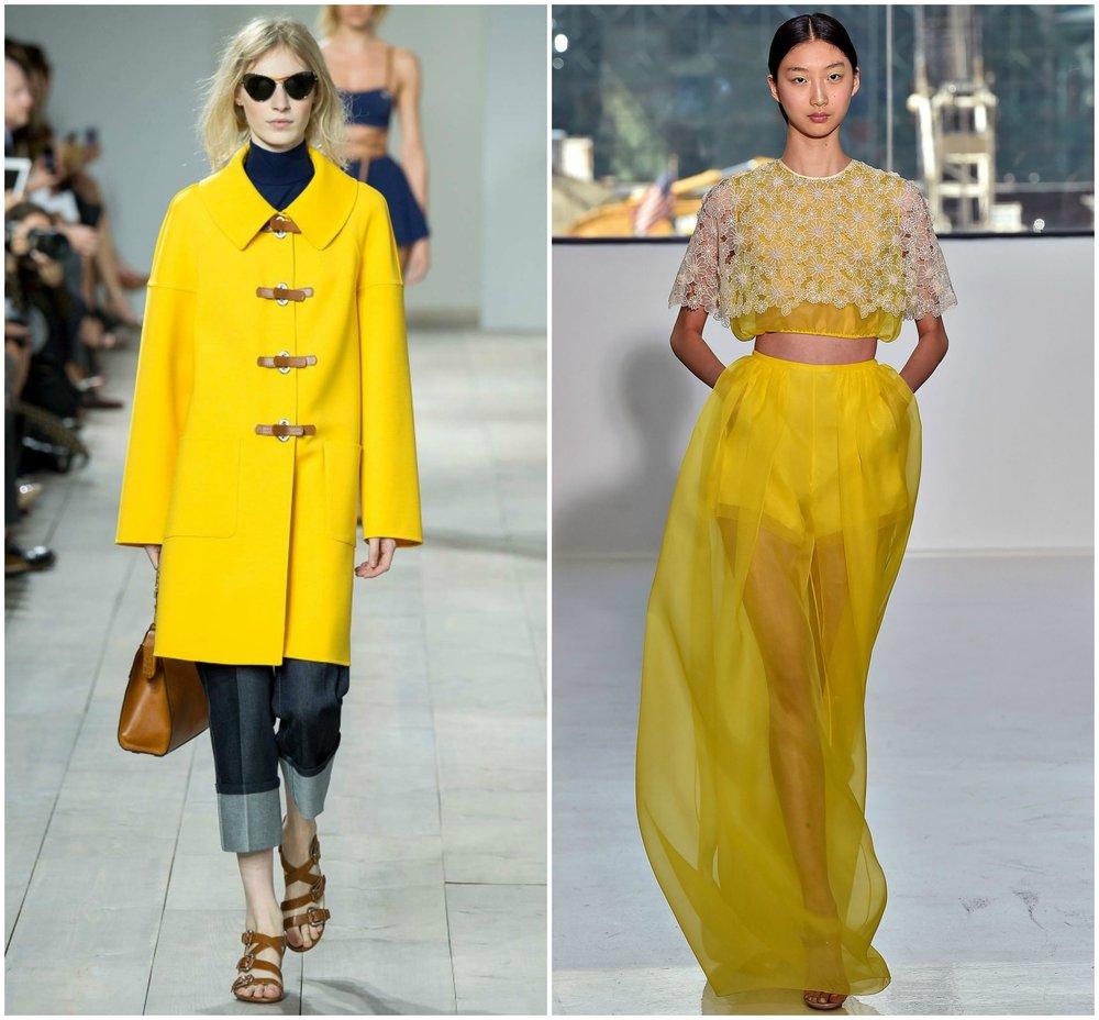 yellow jacket fashion runway coat strap heels