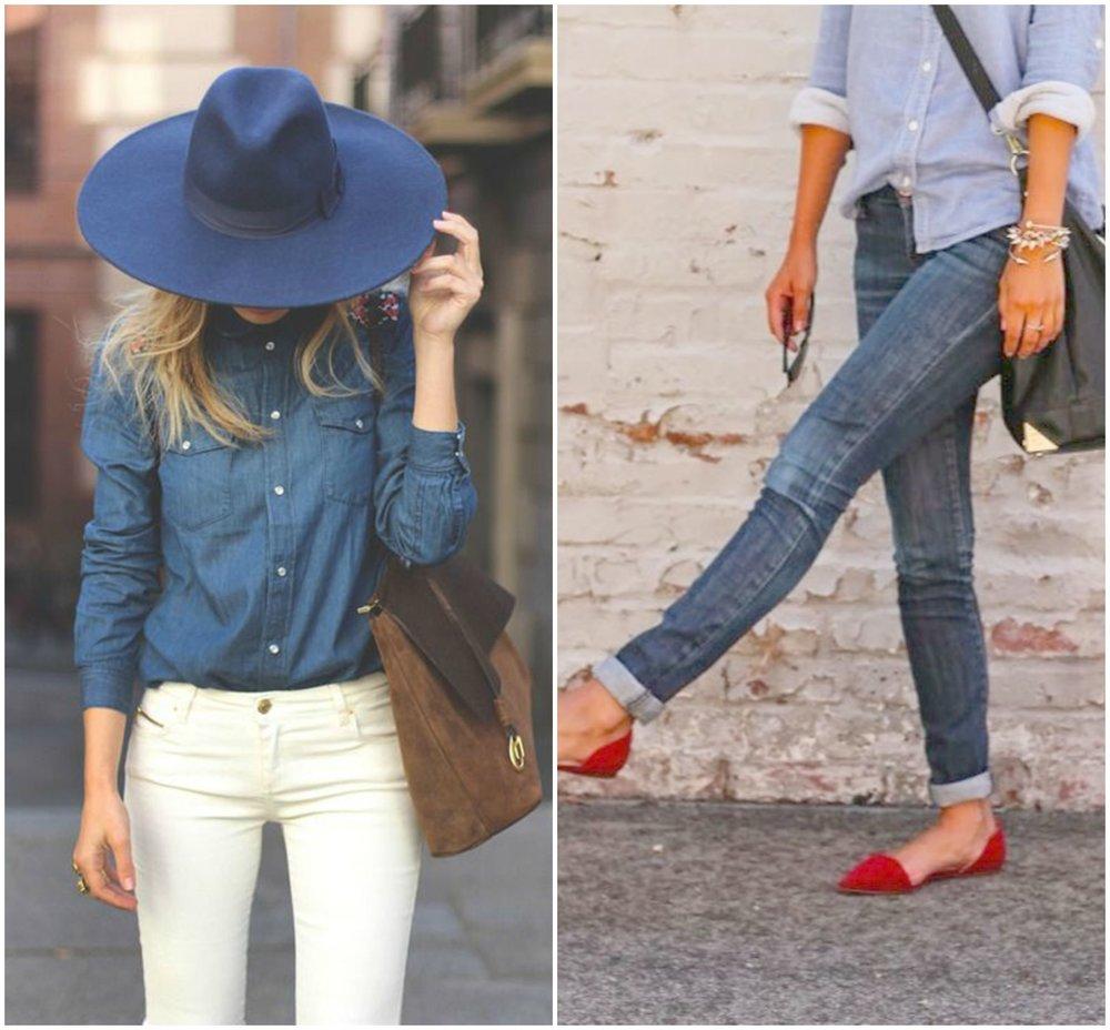 denim shirt hat jeans