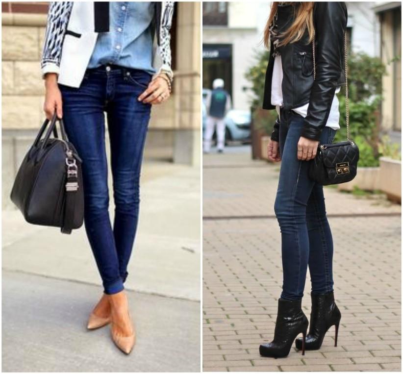skinny jeans jean boots heels bags women
