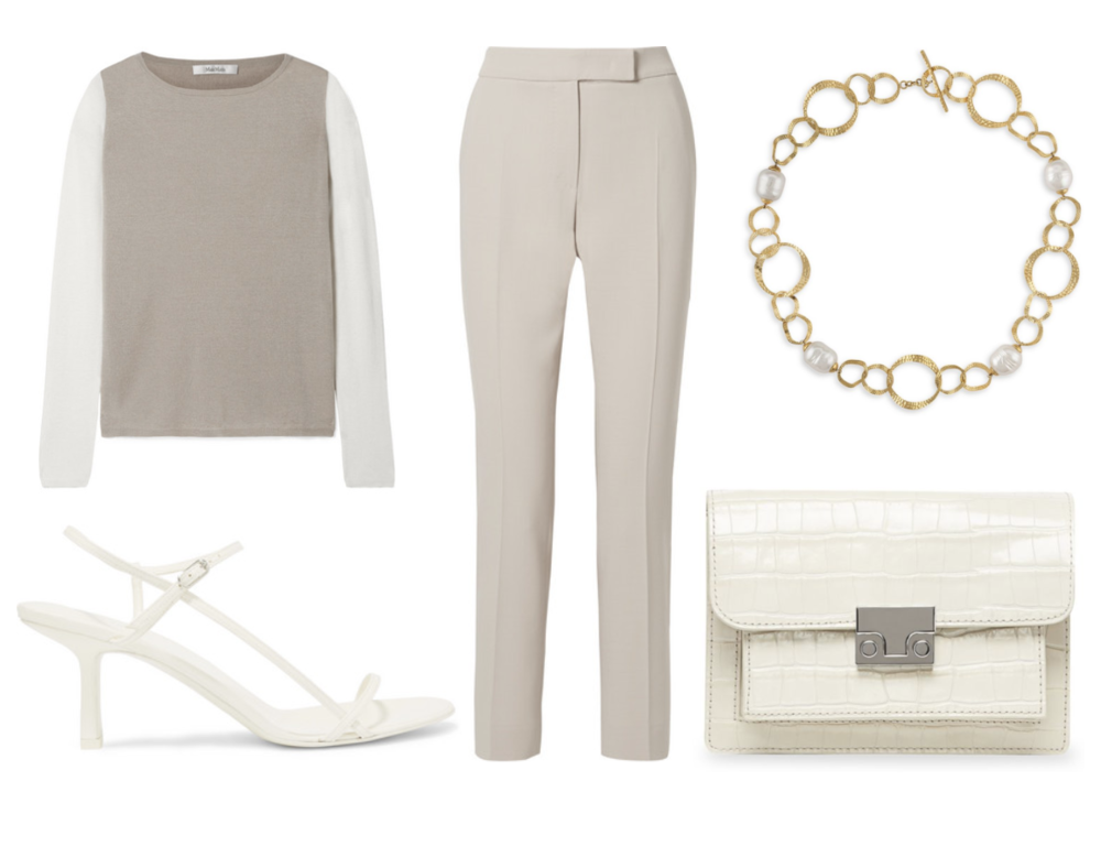 Max Mara  Cropped Stretch-Wool Crepe Straight-Leg Pants  ($675) at  Net-A-Porter.com , Max Mara  Two-Tone Silk and Cashmere-Blend Sweater  ($595) at  Net-A-Porter.com , The Row  Bare Leather Sandals  at  Net-A-Porter.com,  Majorica  Baroque Pearl Collar Necklace  ($195) at  SaksFifthAvenue.com , Loeffler Randall  Mini Minimal Rider Leather Crossbody Bag  ($350) at  SaksFifthAvenue.com.