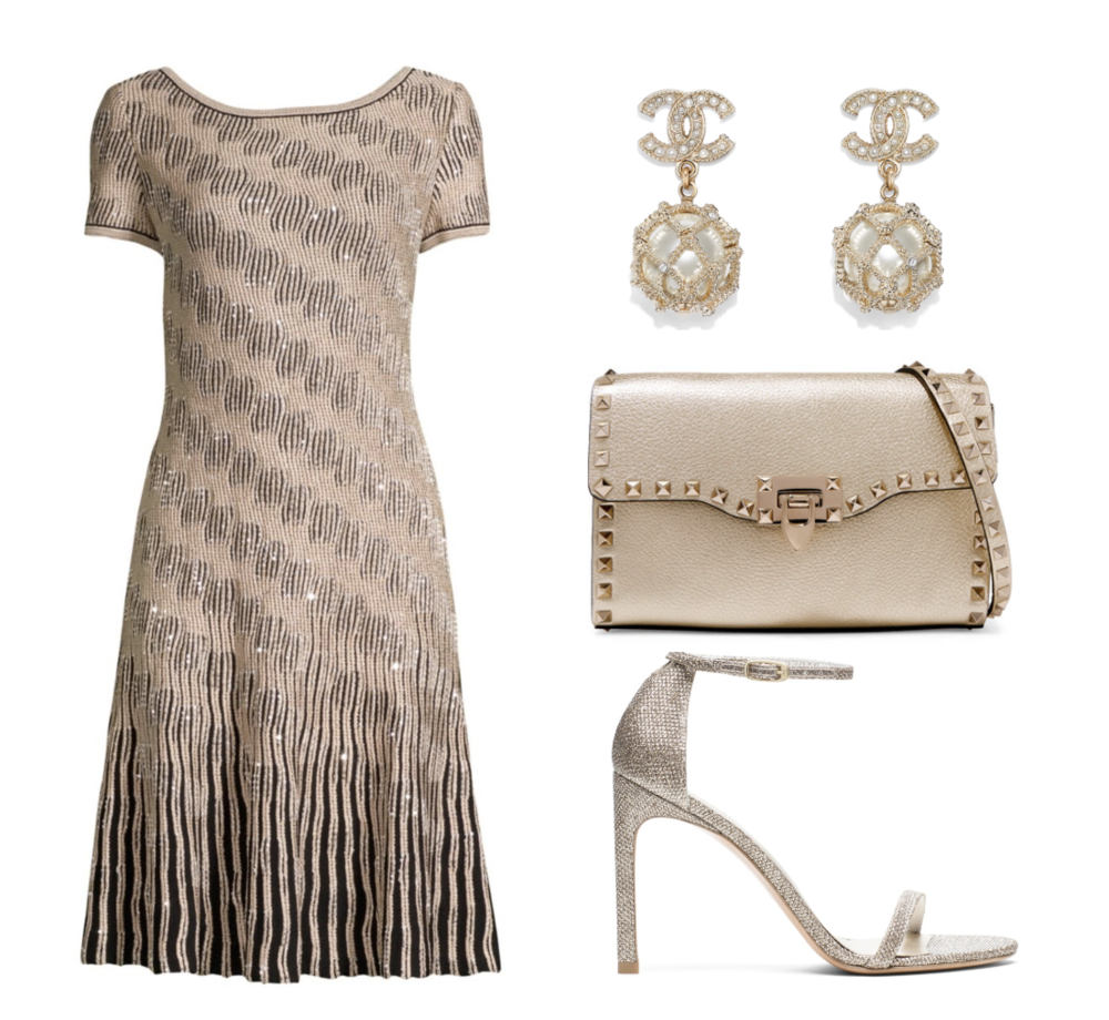 St. John  Sequin Trellis Sheath Dress  ($1,695) at  SaksFifthAvenue.com , Chanel  Earrings  ($700), Valentino Garavani  The Rockstud Metallic Textured-Leather Shoulder Bag  ($1,345) at  Net-A-Porter.com,  Stuart Weitzman  Nudistsong Ankle Strap High-Heel Sandals  in Platinum ($425) at  StuartWeitzman.com .