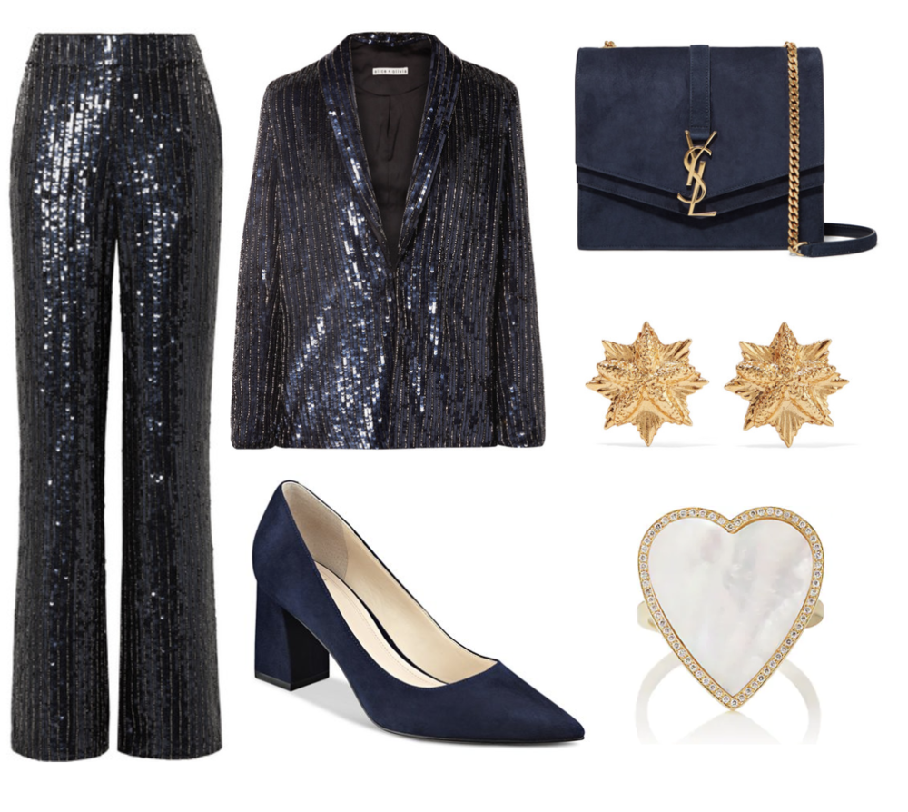 Alice + Olivia  Jace Oversized Sequined Satin Blazer  ($695) and Alice + Olivia  Racquel Sequined Satin Wide-Leg Pants  ($550) at  Net-A-Porter.com , Marc Fisher LTD 'Zala' Pump in Navy Suede ($159) at  Nordstrom.com , Saint Laurent  Sulpice Medium Suede Shoulder Bag  ($2,590) at  Net-A-Porter.com,  Oscar De La Renta  Gold-Plated Earrings  ($190) at  Net-A-Porter.com , Jennifer Meyer  Mother-Of-Pearl & Diamond Heart Ring  ($3,750) at  Barneys.com.