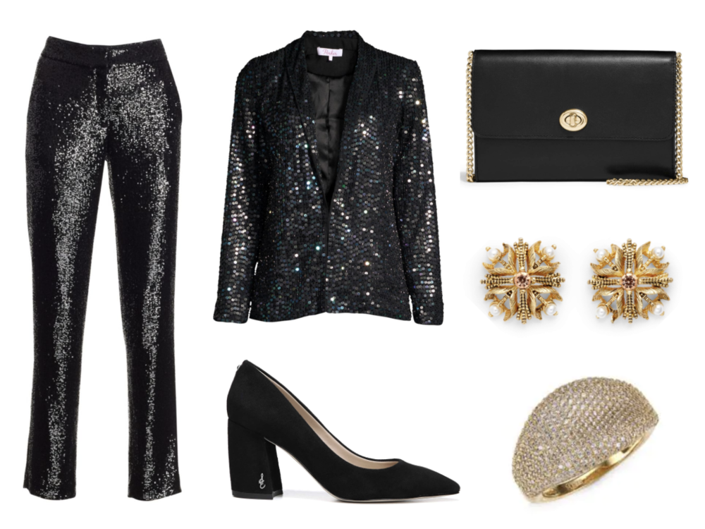 A.L.C.  Hanson Sequin Trousers    ($445) at  SaksFifthAvenue.com , Parker  Tabitha Iridescent Sequin Blazer  ($598) at  SaksFifthAvenue.com,  Sam Edelman  T  atiana Pump  in Black Suede ($119) at  Nordstrom.com , Coach  Smooth Leather Flap Wallet  ($195) at  Nordstrom.com , Badgley Mischka  Stud Earring  s  ($68) at  Nordstrom.com , Adriana Orsini  1  8K Goldplated Sterling Silver Statement Ring  ($170) at  SaksFifthAvenue.com.