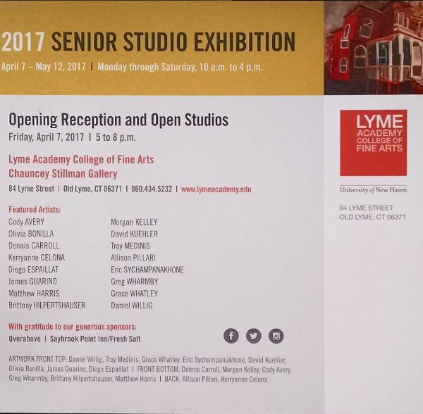 Here is the Senior Exhibition card with my work on it!
