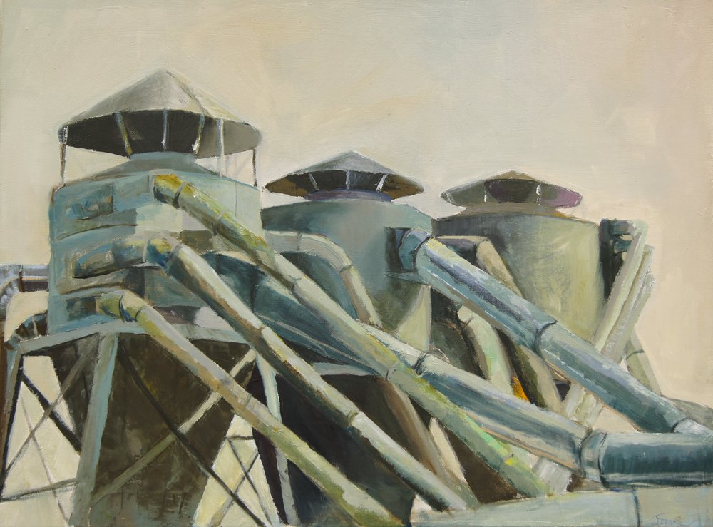 "Factory Tin Cans  2015, oil on canvas 21"" x 28"""