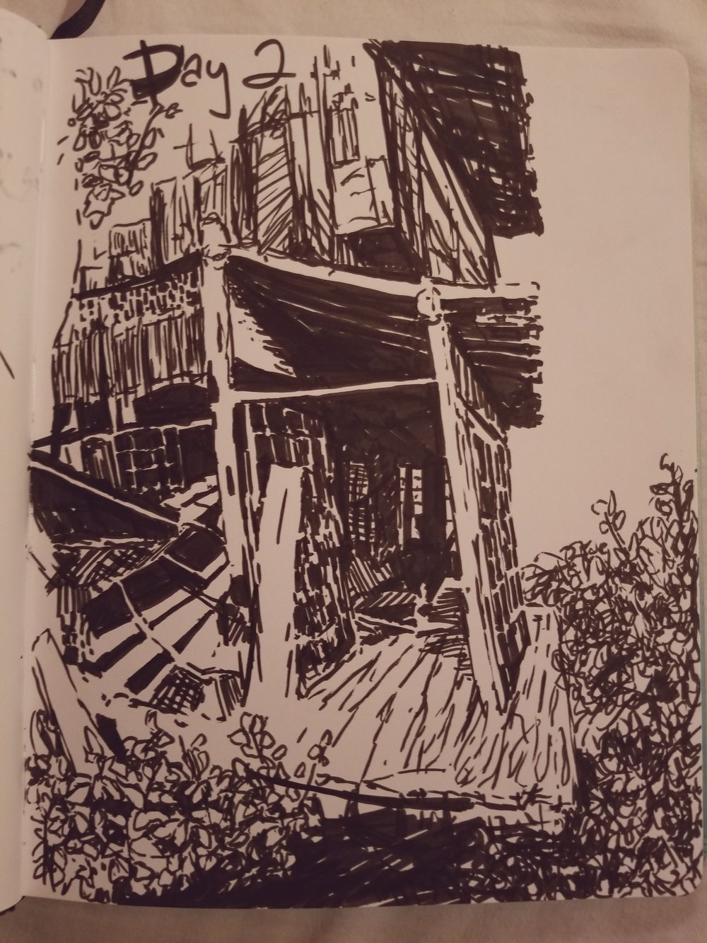 day 2 - pen drawing of an old building from reference