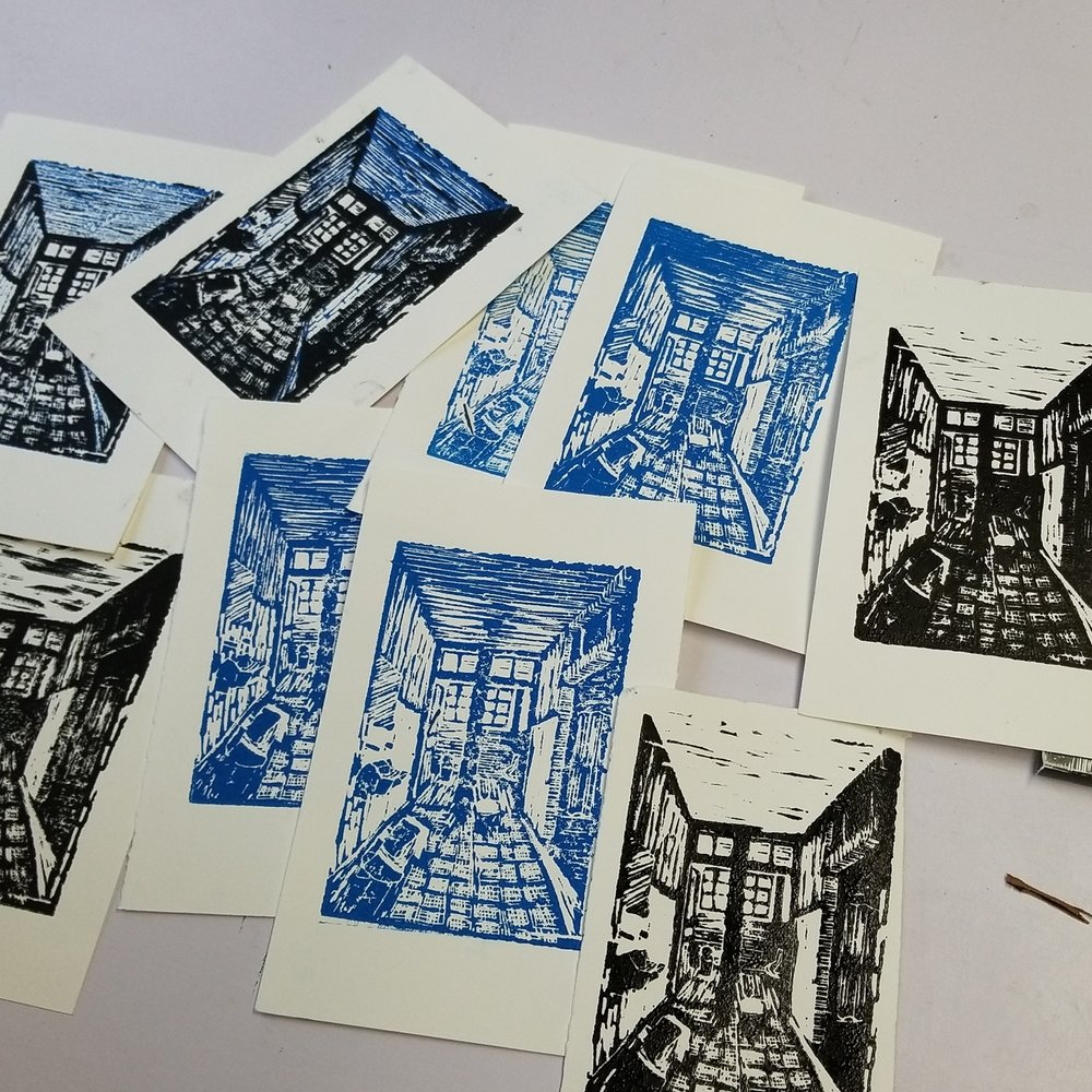 day 5- linocuts of a hallway, from reference.