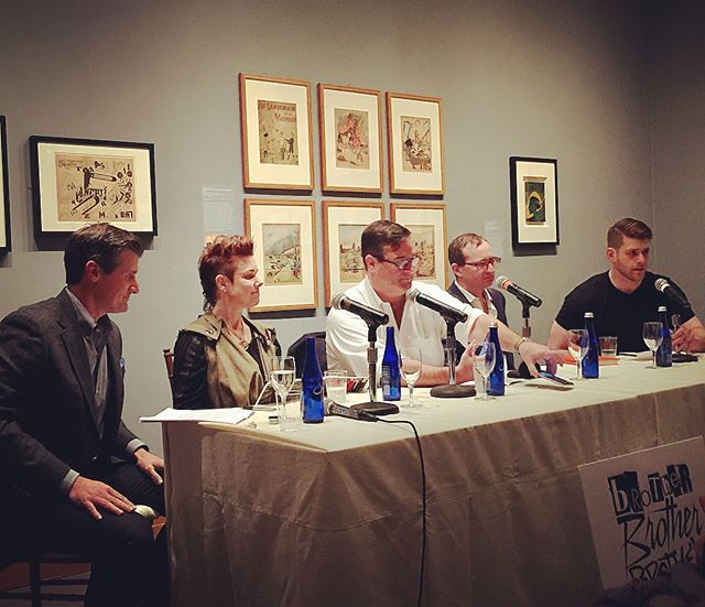 "Josh Lieb and E. V. Day join Brother Brother Brother (@thebrotherpod) live at The Met (@metmuseum) to explain why ""propaganda is good, war is good, darkness is light, and we've always been at war with Oceana."" Episode link in profile. . . . @themetropolitanmuseumofart @metdrawingsandprints @farrell.jennifer @demiantkendall #metmuseum #themet #thebrotherpod #podcasts #livepodcast #worldwar1 #futurism #vorticism #BLAST #WyndhamLewis #OttoDix #Léger #EzraPound #KatheKollwitz #punkrock @official_jonstewart @jimmyfallon @fallontonight @questlove  @davidbyrneofficial @steadycraig @realtedleo @museummammy"