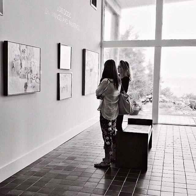 Love this pic by @pamelajbates of our day at the @ogunquitmuseum checking out Lois Dodd's paintings. Here's me and @martaspendowska having a deep chat about pink cows. 🐄💕