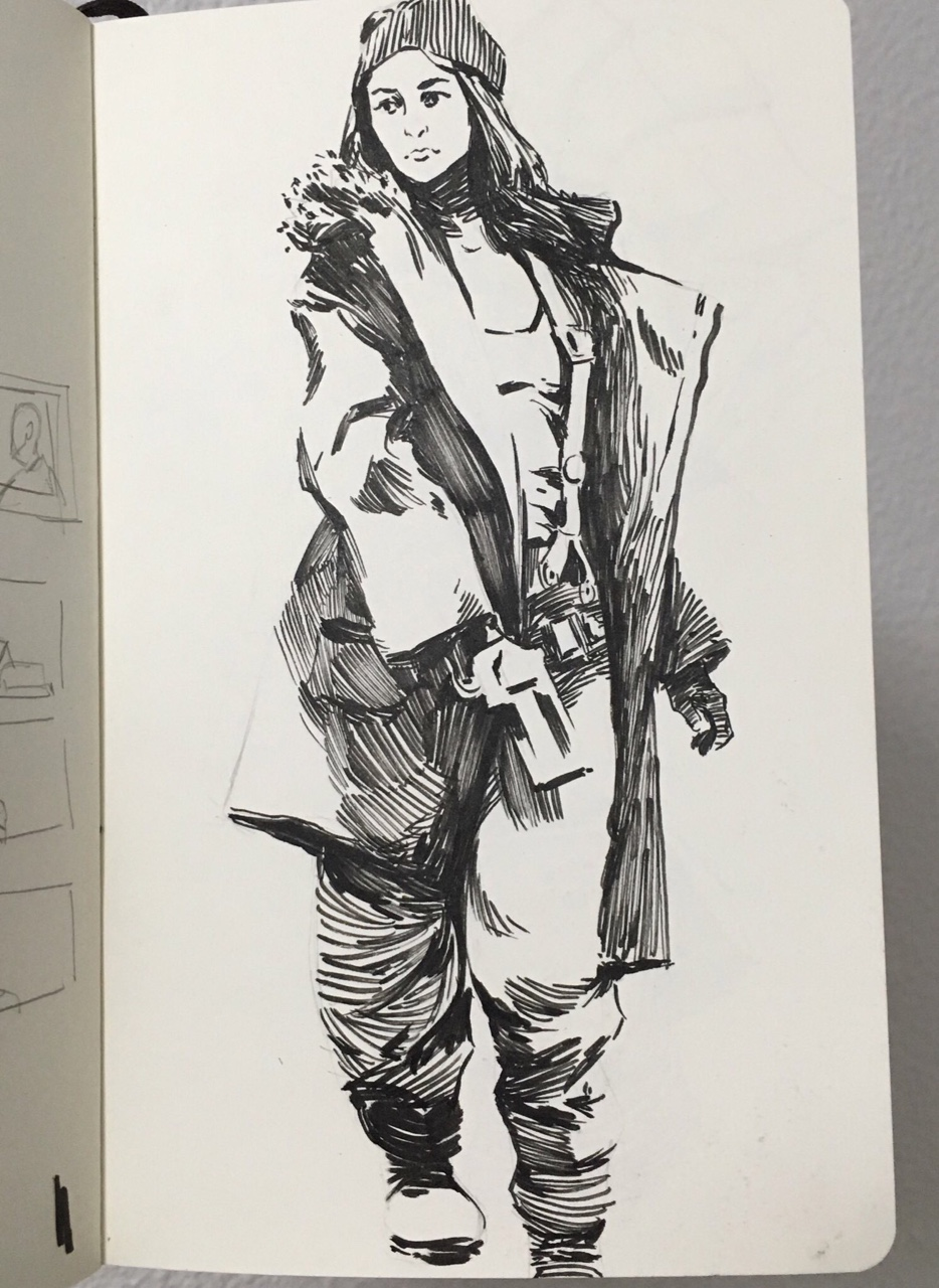 Inktober snow corporation figure warm up study.