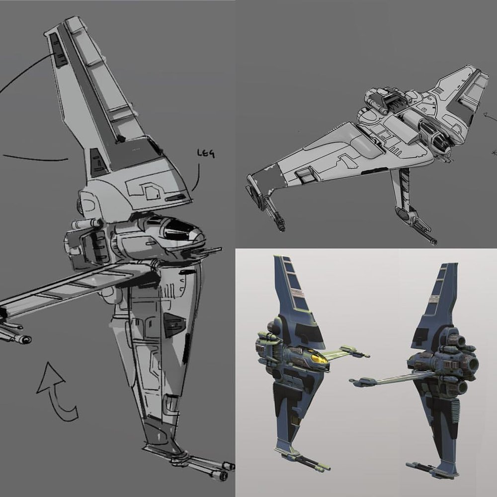 B-wing sketches will post the final in a couple of hours  #ILM #artstation #starwars #3dcoat