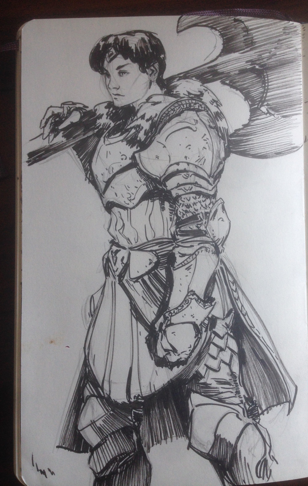 #MaySketchaDay 07 - Daily exercise in the the battle against perfectionism and fear. Been digging the armor lately #tomscholes #knight #armor #axe #inks #sketchbook #art #asketchaday #instagram #instaart