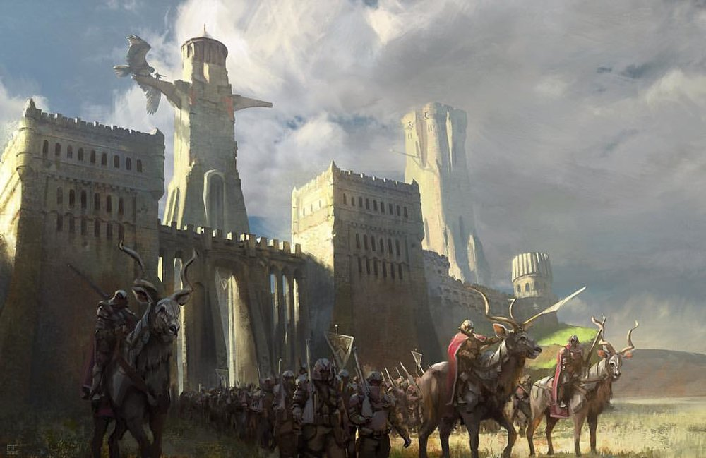 """The long march"" Finished this one forgot to post it on #instagram My own flavour of #fantasy. A quick #photobash adventure. #birdsofoman #painting #art #castle #knights ish #march #artoftheday #picoftheday #digitalart #sky #instaart #instaartist #follow #clouds #sketch ish #artist #wacom #lanscape"