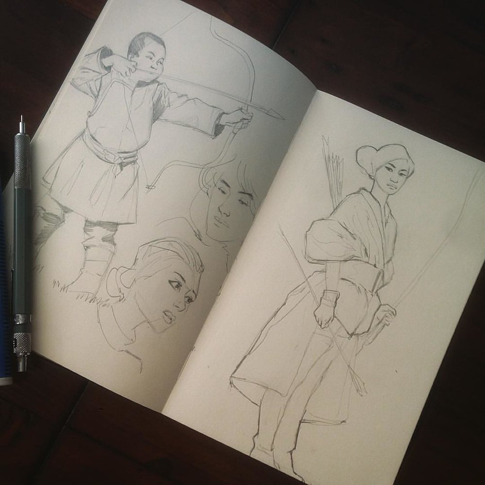 Warm ups today was kind diggings bows #studies #drawing #molskine #bows #mongolianboy #sketches #asketchaday