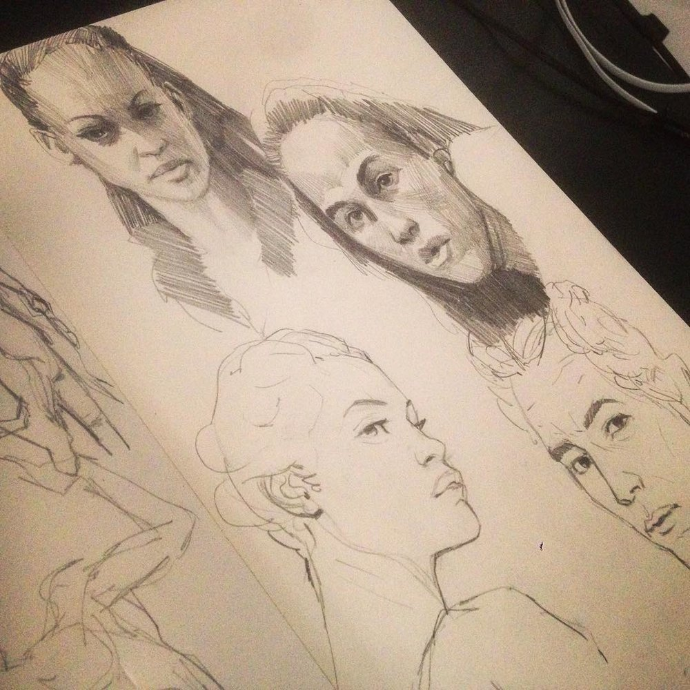 Warm ups today #studies #drawing #molskine #facestudy #art #sketchbook #sketches #asketchaday