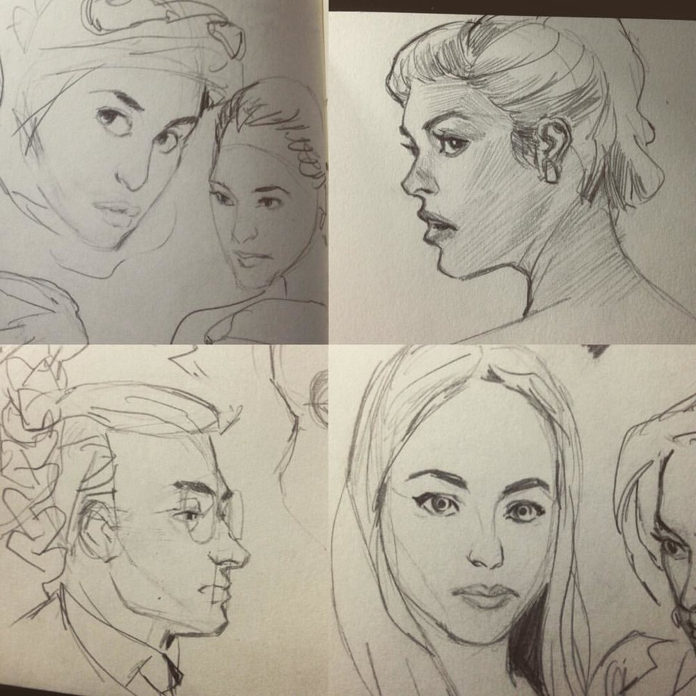 Some warm up sketched from today. #art #sketches #moleskine #drawing #pencildrawing #study