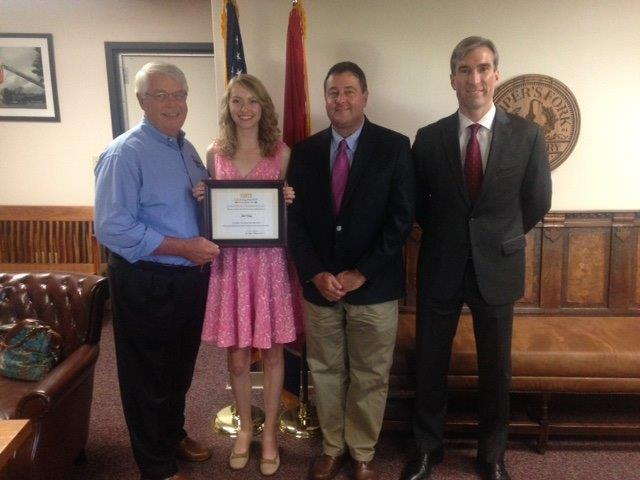 (L-R): Williamson County Mayor and Leadership Franklin Alumnus Rogers Anderson, First Inaugural Youth Leadership Franklin (YLF) Scholarship Recipient Julia Vesly, YLF Board members Tim Ledman and Will Powell.