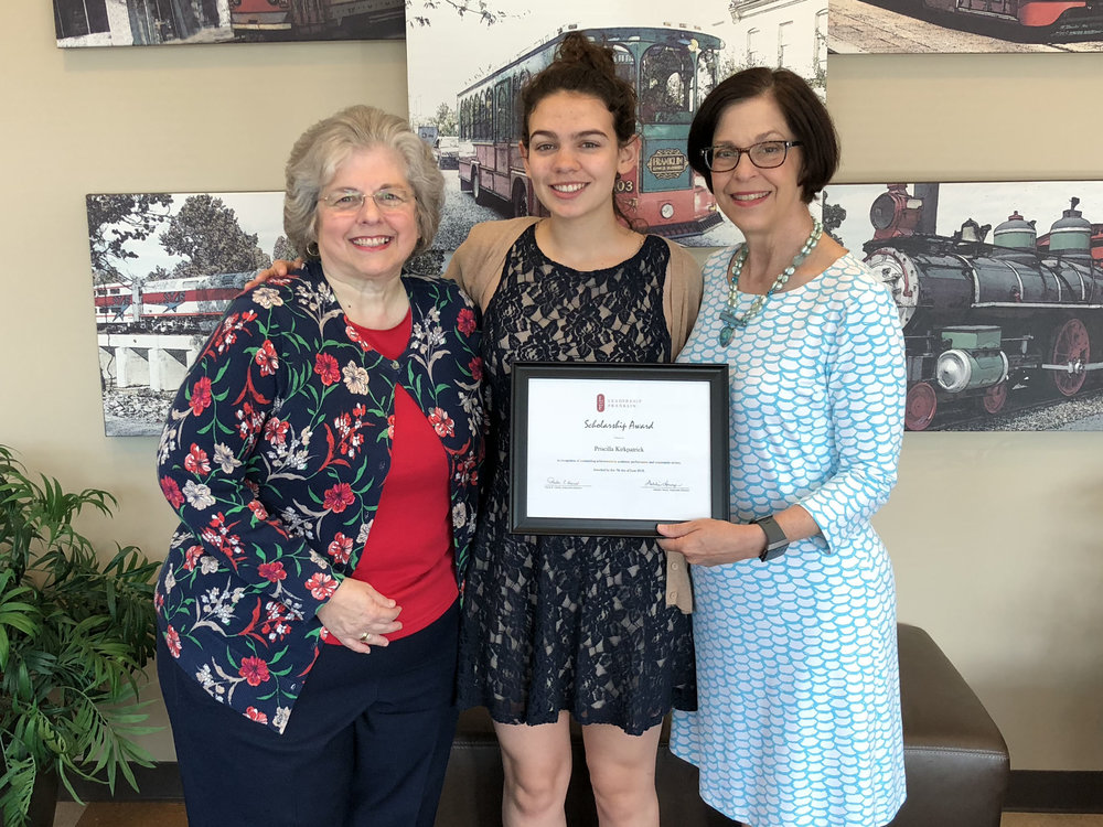(l-r) Debbie Henry, Associate Executive Director; Priscilla Kirkpatrick, 2018 Leadership Franklin Scholarship Recipient; and Paula Harris, Executive Director