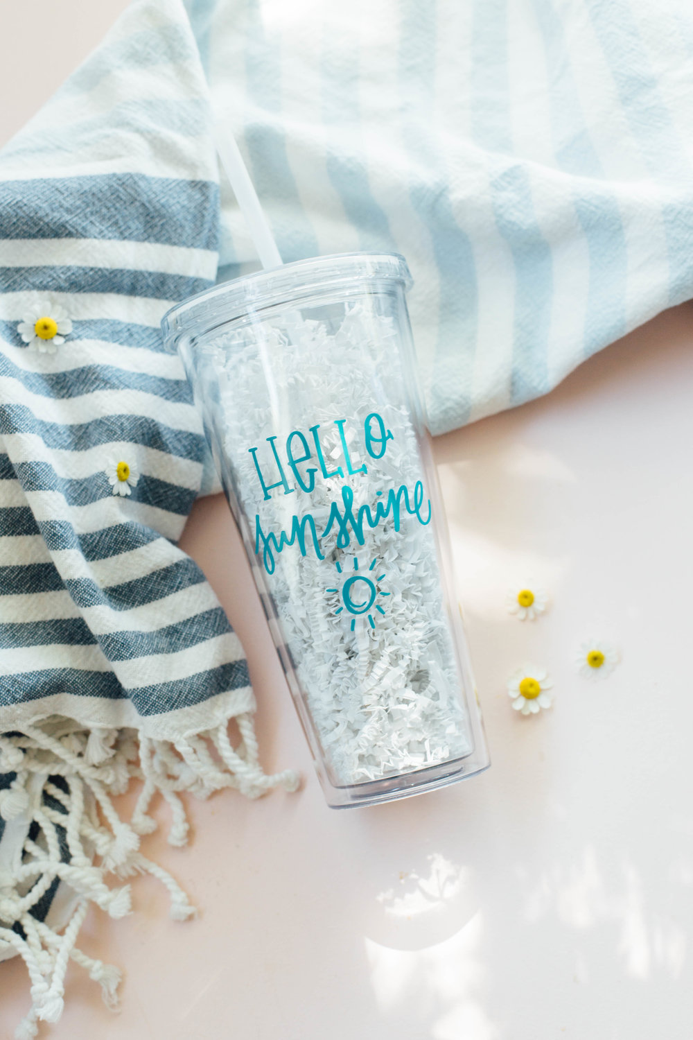 """Hello Sunshine"" clear plastic water tumbler with straw."