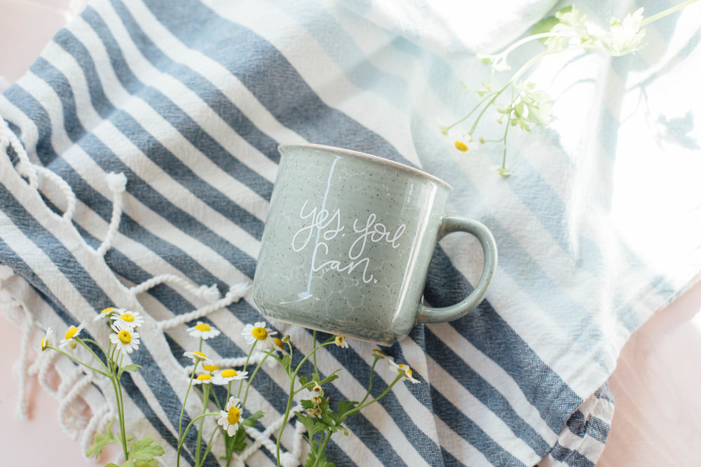 """Yes, You Can"" Ceramic marble camper mug."