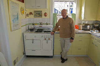 "Joe with his pride and joy Model C, in a great original vintage ""sunrise"" kitchen in Elmhurst, Illinois."