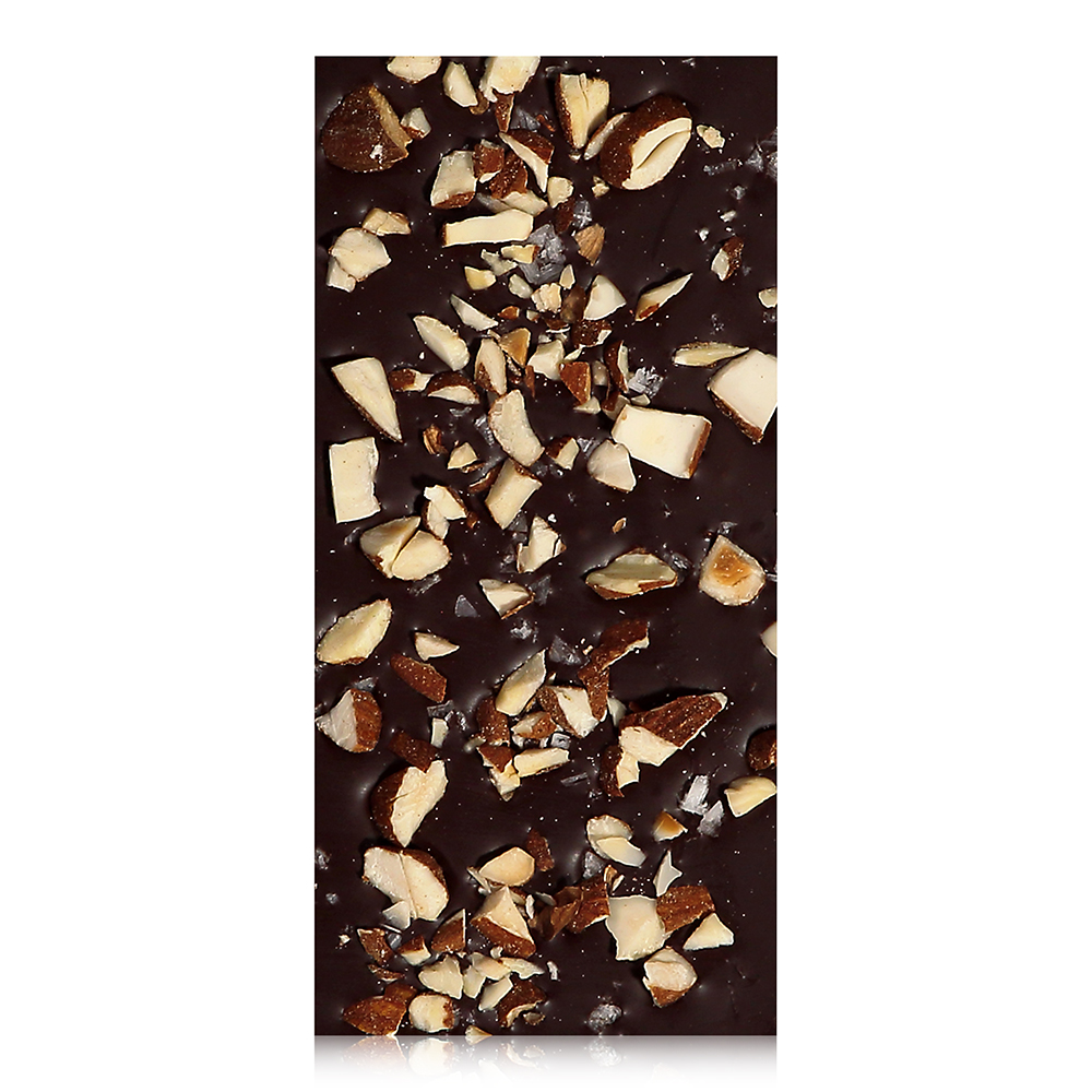 Salty Crunchy Almond Chocolate Bar - Organic roasted almonds, sea salt flakes