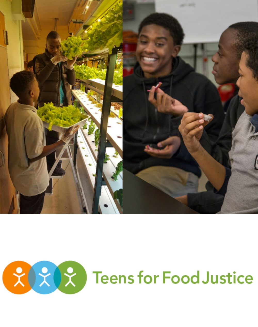 Teens for Food Justice is a youth-led food justice movement that works to bring nutritious and healthy foods to those who need it. -