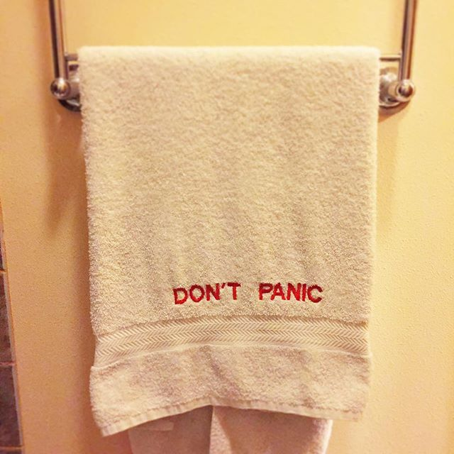 Number of people surprised we own this towel: none whatsoever. #dontpanic #hitchhikersguidetothegalaxy