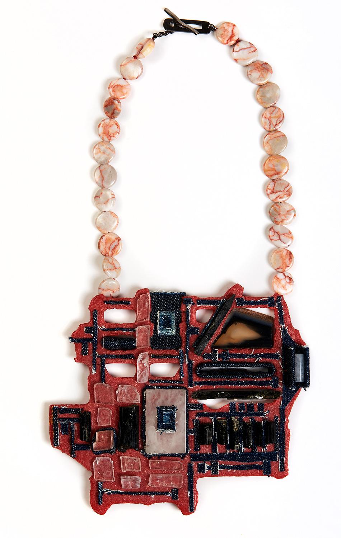 'Antilogos II'   Necklace   Silver, Recycled Plastic, Textile, Quartz, Agate, Calcite, Aegirine, Jasper