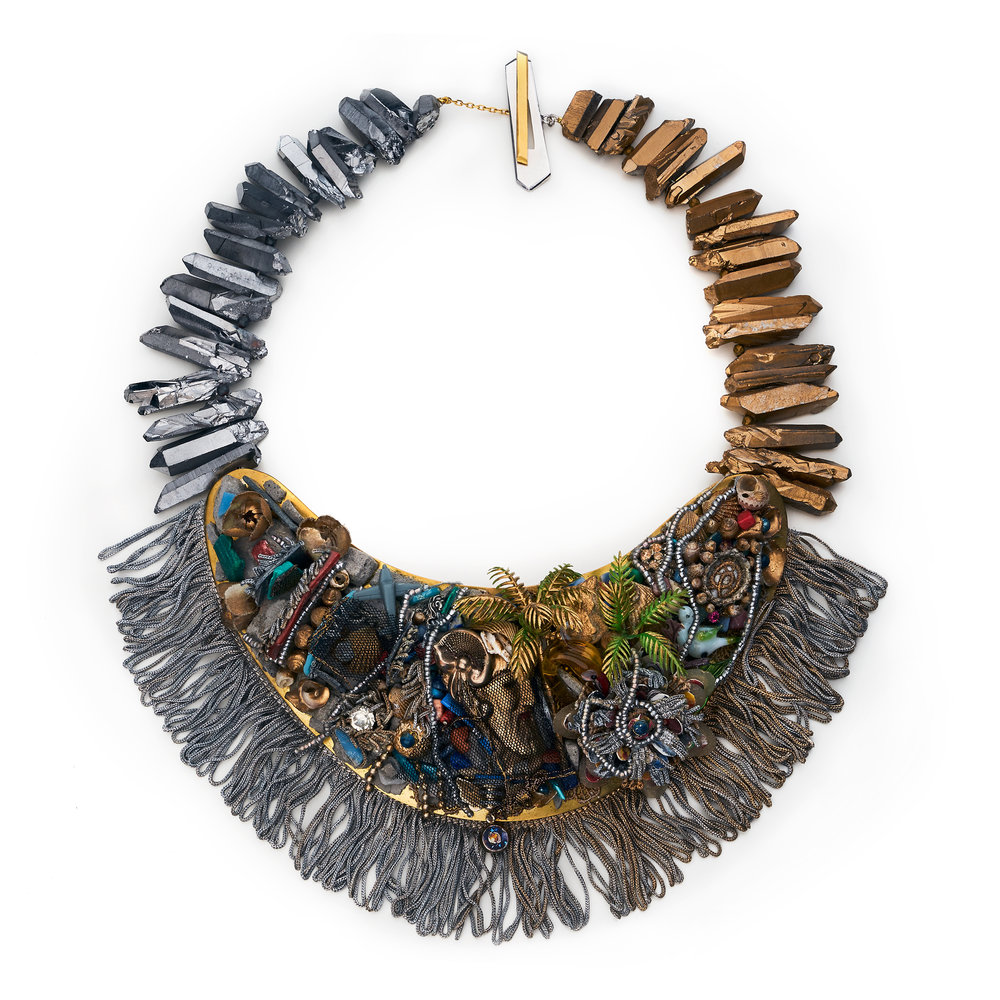 Necklace Bronze, Pyrite, Mineral Stones, Recycled Plastic, Paper, Textile, Thread, Seashells, Murano Glass,  Found Objects, Pigment
