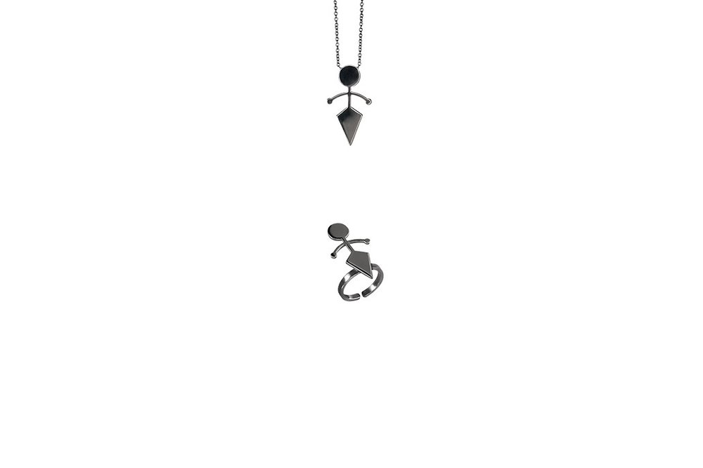 Pendant/Ring Platinum Plated Sterling Silver