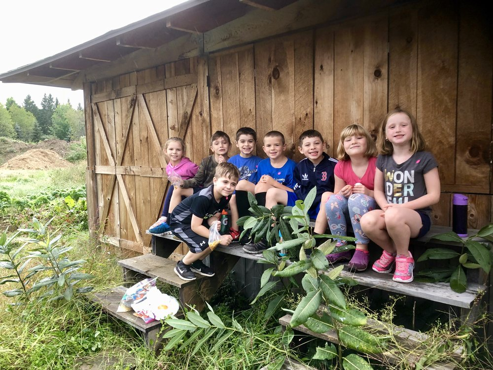 1st Graders hanging out on the farm.
