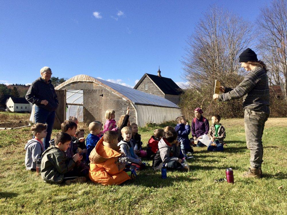 Bradford 1st Grade has story time on the farm.