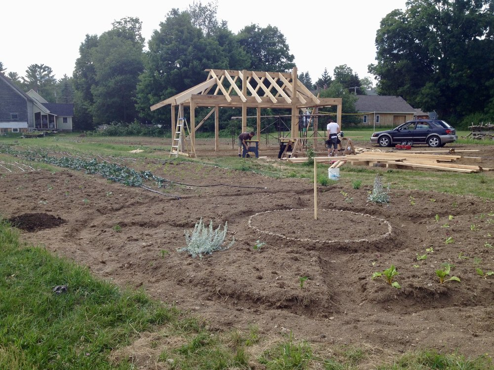 Building the farm stand.