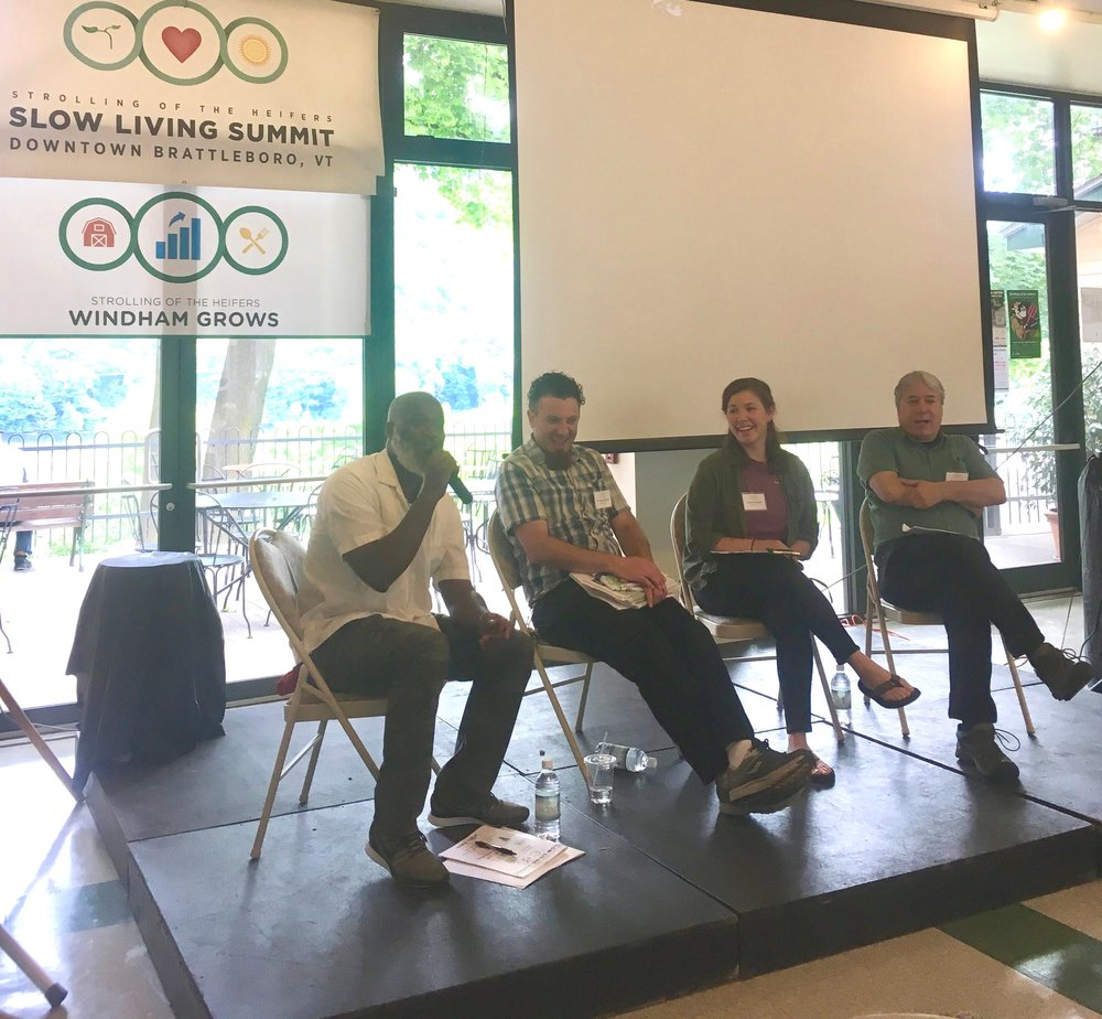 Speaking on a panel at the 2018 Slow Living Summit in Brattleboro, VT.