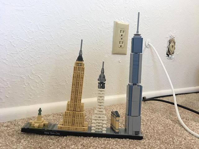 Been in our sticks n bricks for less than 48 hours and landmarks Jr. built some NYC buildings!! #legos #architecture #motivated #homeschool