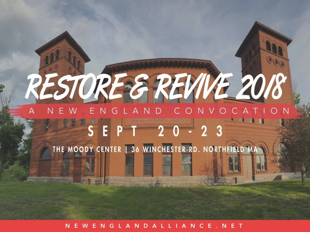 New England - Restore & Revive - This year, 10 Days and Restore and Revive will serve as the kick-off for a regional, 2 year focus on evangelism.  We believe that God is inviting us, as His people in New England, to enter into a time of His favor and a season of harvest leading up to 2020 and the 400th anniversary celebration of the Pilgrim's landing.  Themes for this year include:N.E. Evangelism Strategy launch and 40 Days of Love (Sept 9-Oct 18)2nd Great Awakening and Reconciliation of races, nations, ethnicitiesStudent Missions and the legacy of the Student Volunteer MovementThe New England Alliance, conveners of Restore and Revive together with our many partners, believe that God's Holy Spirit is bringing together a set of meetings which will not only honor what God has done in New England and Northfield in the past, but also will help open the way for a new work.