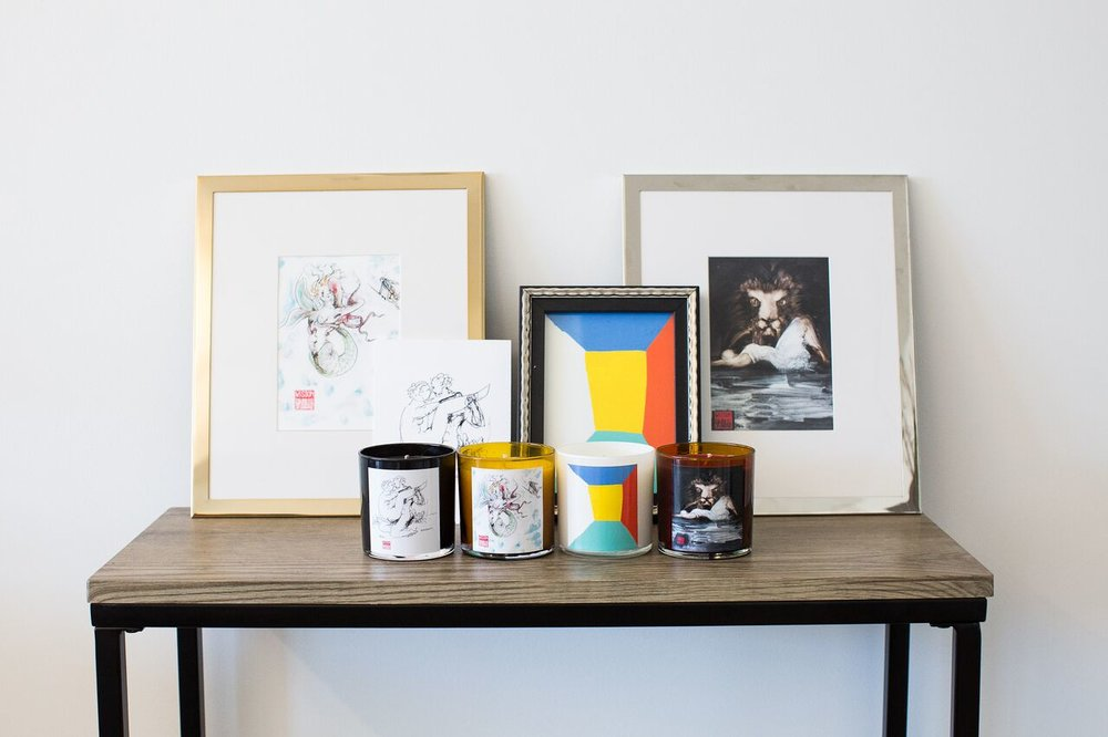 Shop Curations - art paired with candles.