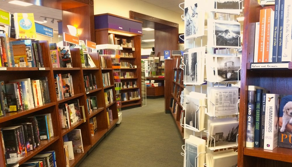 A glimpse of the University Bookstore interior, similar in character to a Barnes & Noble.