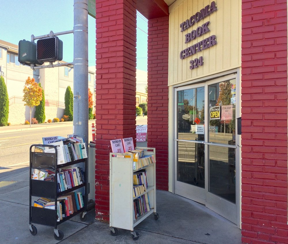 Bargain carts are just the beginning at the entrance to Tacoma Book Center.