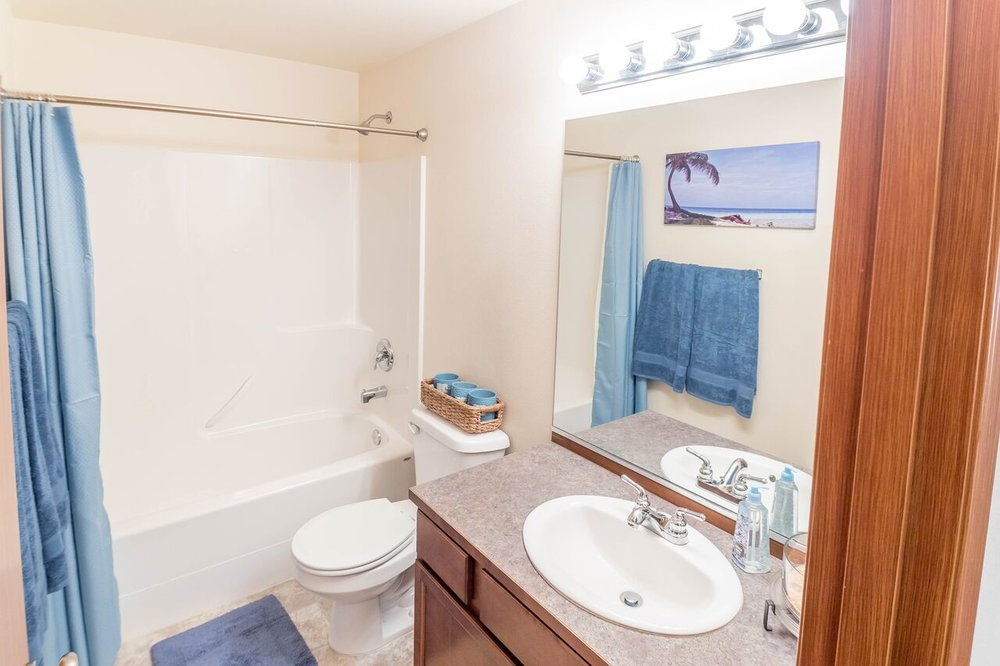 Full bathroom with tub surround, vinyl floors, big mirror, and vanity with good storage options.