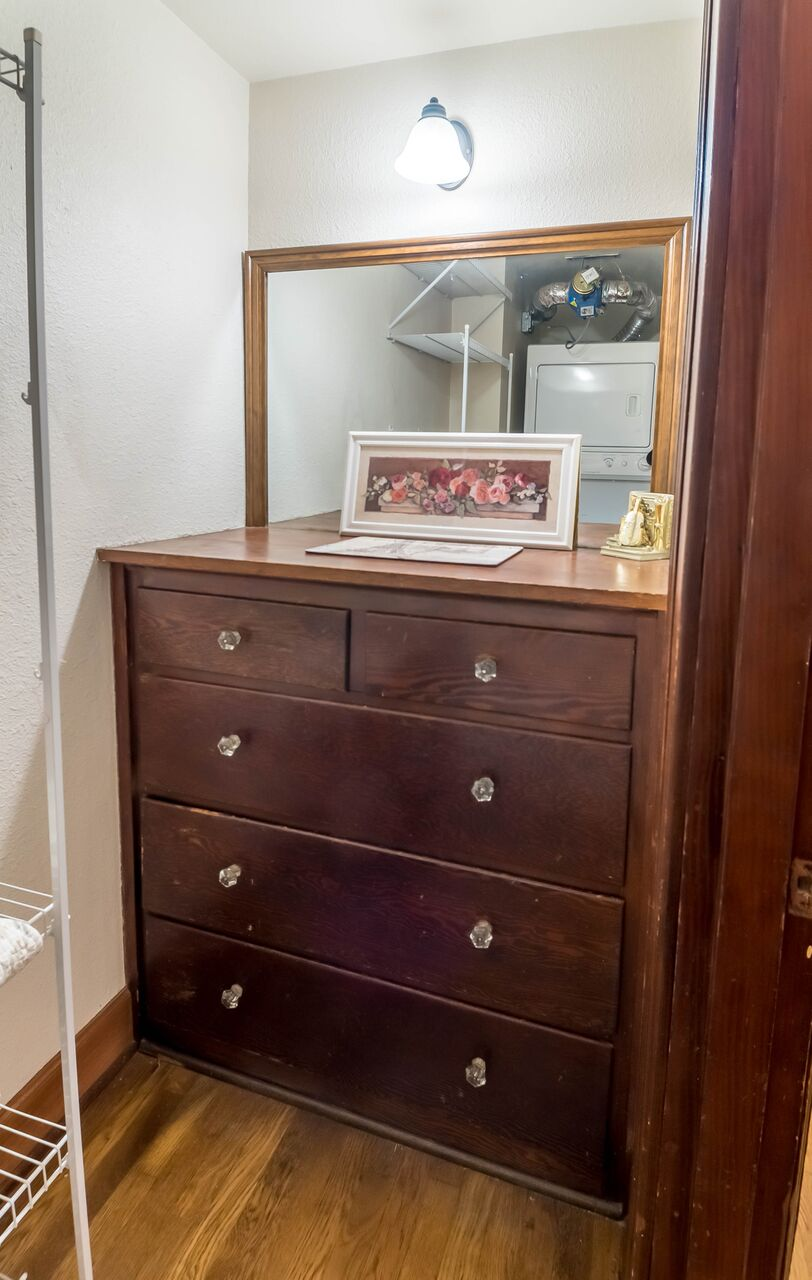 Dresser and shelving fit nicely into a closet space to keep the main living area tidy.