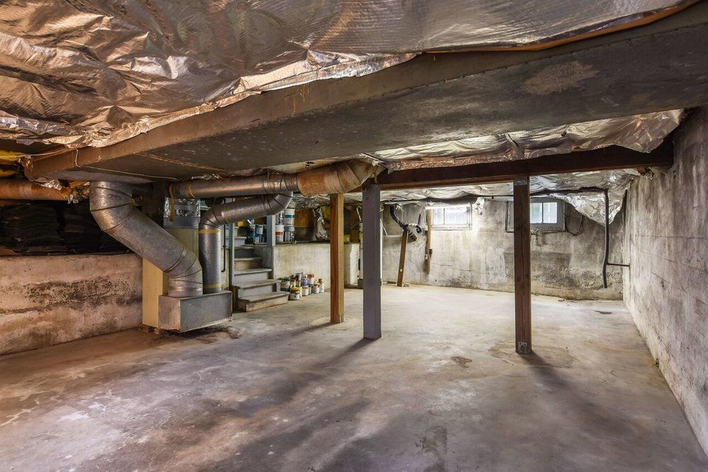 Unfinished basement.