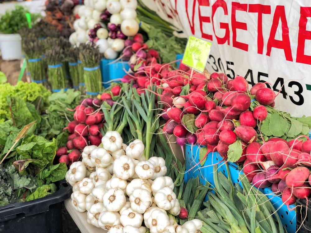 Eastside Farmers Market gorgeous produce display.