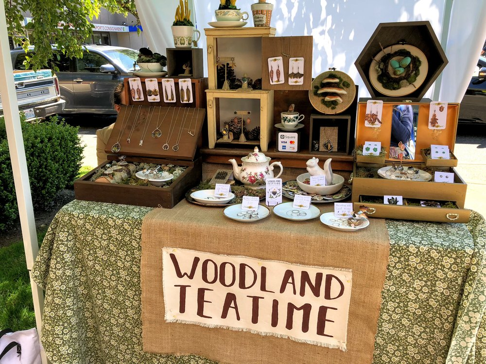 La Paloma Proctor's  Woodland Teatime  fanciful table of felted pieces and jewelry.
